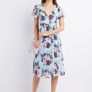 Charlotte Russe Baby Blue Floral Wrap Midi Dress